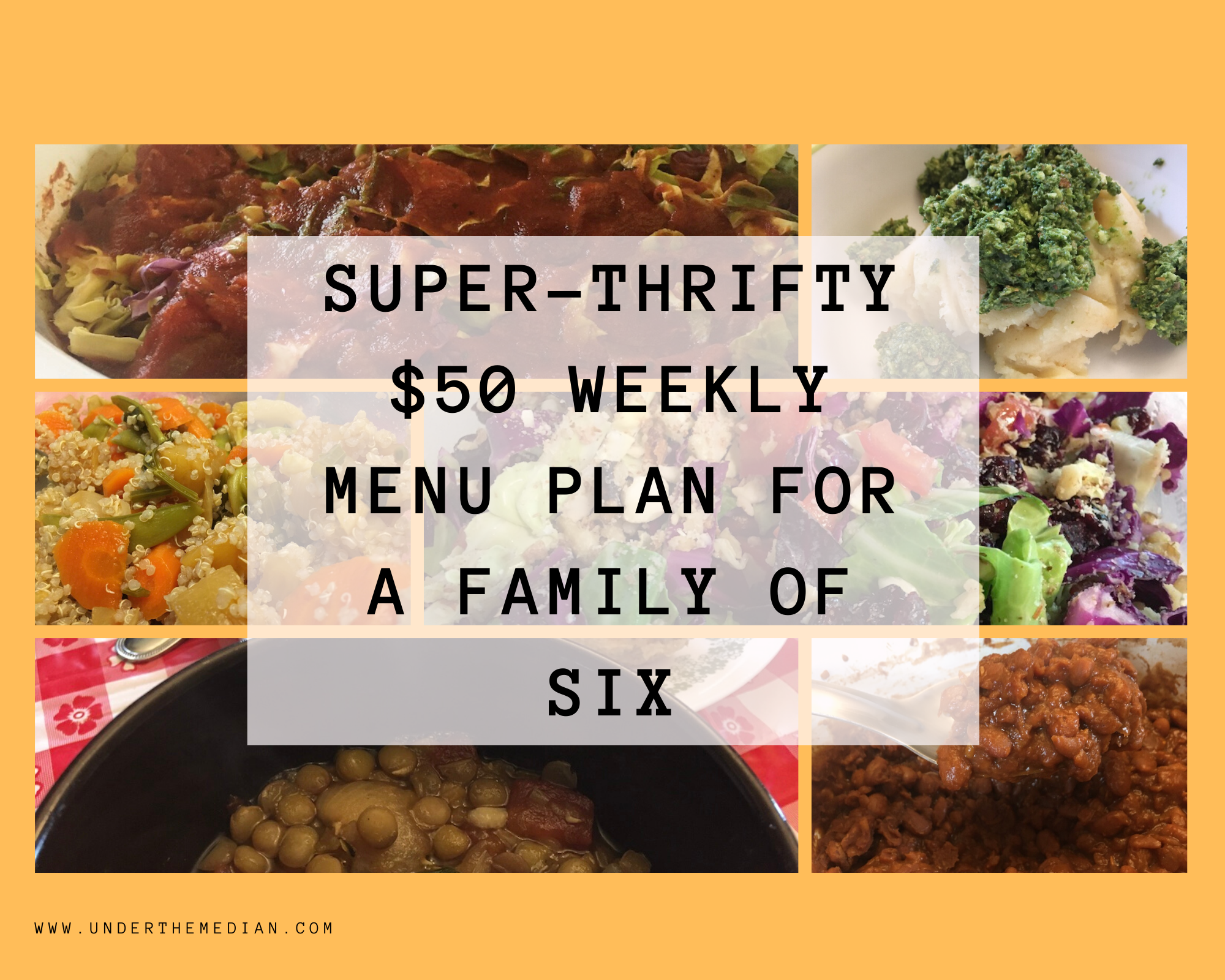 Super-Thrifty $50 Weekly Menu Plan for a Family of 6