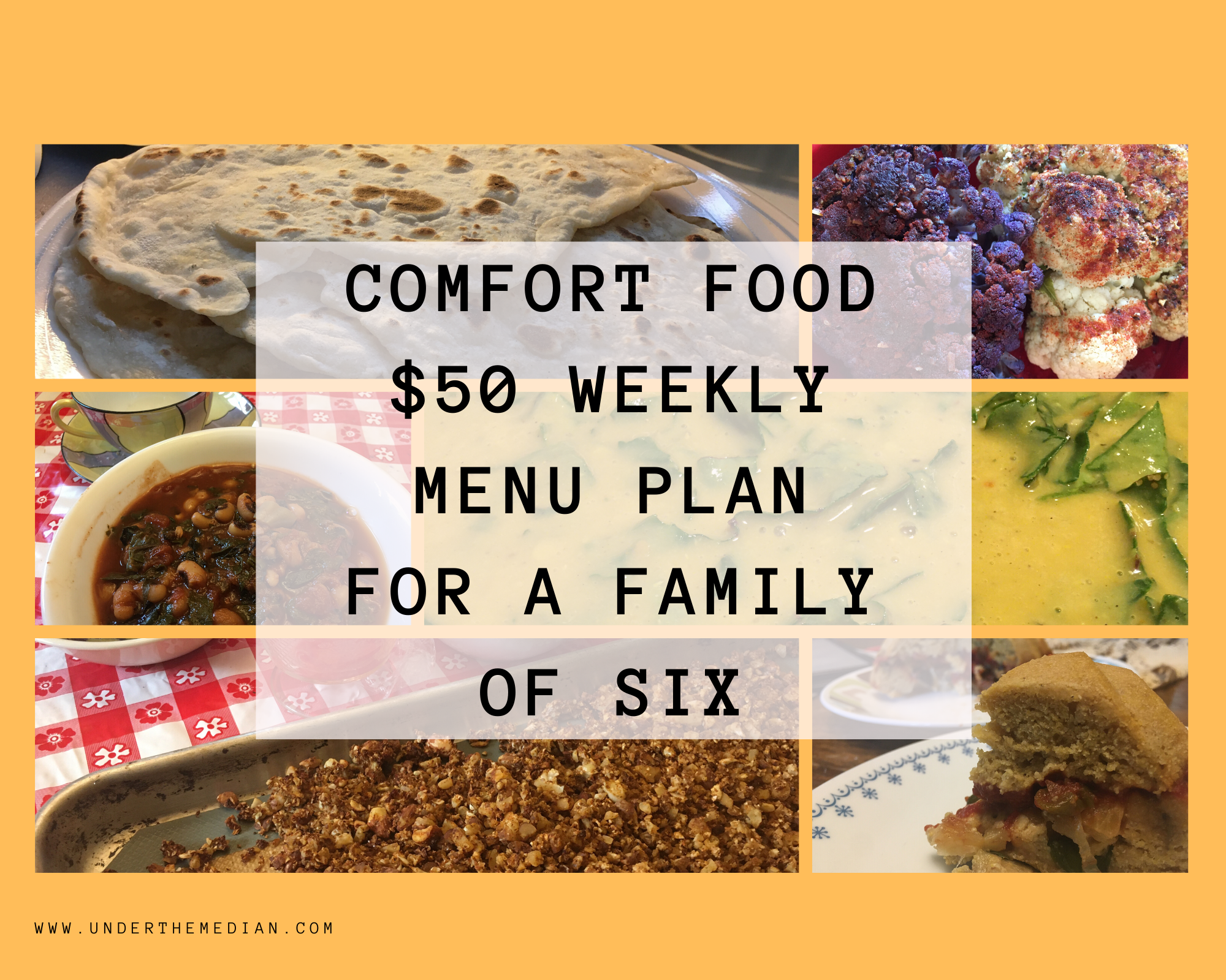 Comfort Food $50 Weekly Menu Plan for a Family of 6
